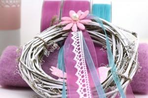 Türkranz mit Dekobänder pink blau
