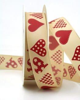 Taftband creme-rot mit Herzen, 25 mm breit - valentinstag, muttertag