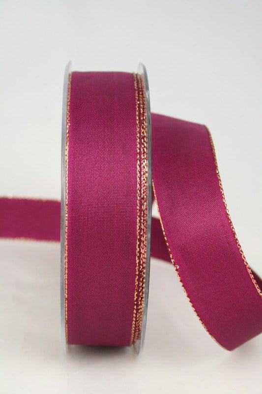 Uni Taftband mit Goldkante, 25 mm breit, himbeer - weihnachtsband, satinband-m-goldkante