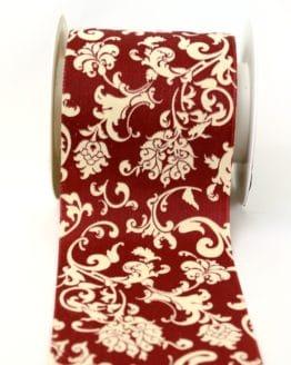 Tischband Klassik dunkelrot-creme, 100 mm - dekoband