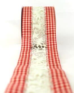 Tischband rot-kariert, 80 mm breit - weihnachtsband, geschenkband-weihnachten-gemustert, geschenkband-weihnachten