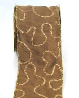 Exklusives, extra breites Geschenkband / Tischband braun-gold, 100 mm breit - webkante, sonderangebot, geschenkband-weihnachten, dekoband-mit-drahtkante-dekoband