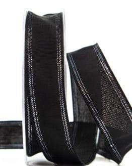 Trauerband schwarz mit Silberrand, 25 mm breit - trauerband