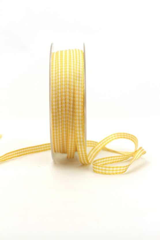 Vichy-Karoband gelb, 6 mm breit - karoband, karierte-baender, geschenkband-kariert