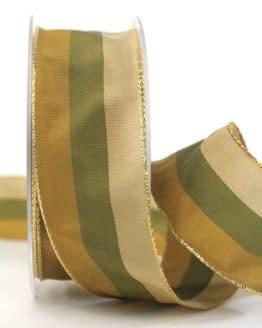 Weihnachtsband Streifen, braun-grün, 40 mm breit - webkante, geschenkband-weihnachten-gemustert, geschenkband-weihnachten