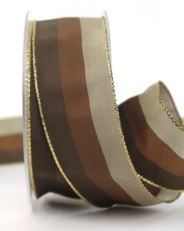Weihnachtsband Streifen, braun-taupe, 40 mm breit - webkante, geschenkband-weihnachten-gemustert, geschenkband-weihnachten