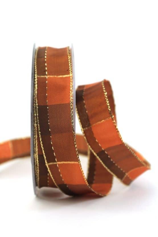 Karoband Weihnachten, braun-gold, 25 mm breit - webkante, karoband, geschenkband-weihnachten-kariert, geschenkband-weihnachten