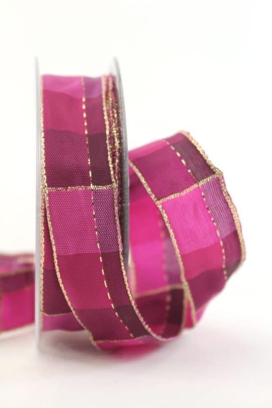 Karoband Weihnachten, pink-gold, 25 mm breit - webkante, karoband, geschenkband-weihnachten-kariert, geschenkband-weihnachten