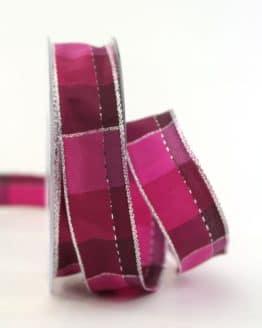 Karoband Weihnachten, pink-silber, 25 mm breit - webkante, karoband, geschenkband-weihnachten-kariert, geschenkband-weihnachten