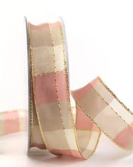 Karoband Weihnachten, rosa-gold, 25 mm breit - webkante, karoband, geschenkband-weihnachten-kariert, geschenkband-weihnachten