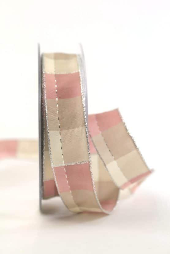 Karoband Weihnachten, rosa-silber, 25 mm breit - webkante, karoband, geschenkband-weihnachten-kariert, geschenkband-weihnachten