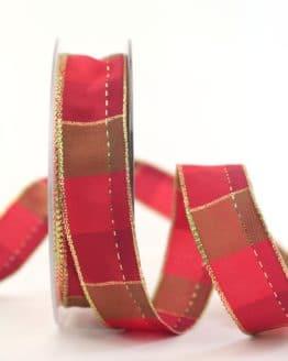 Karoband Weihnachten, rot-gold, 25 mm breit - webkante, karoband, geschenkband-weihnachten-kariert, geschenkband-weihnachten