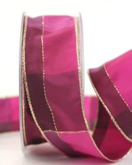 Karoband Weihnachten, pink-gold, 40 mm breit - webkante, karoband, geschenkband-weihnachten-kariert, geschenkband-weihnachten