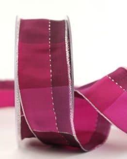 Karoband Weihnachten, pink-silber, 40 mm breit - webkante, karoband, geschenkband-weihnachten-kariert, geschenkband-weihnachten