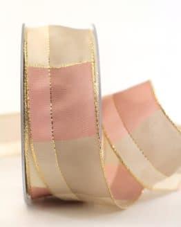 Karoband Weihnachten, rosa-gold, 40 mm breit - webkante, karoband, geschenkband-weihnachten-kariert, geschenkband-weihnachten