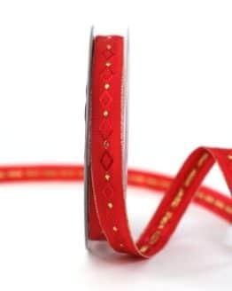 Weihnachtsband Rautenmuster, rot-gold, 15 mm breit - weihnachtsband, geschenkband-weihnachten-gemustert, geschenkband-weihnachten