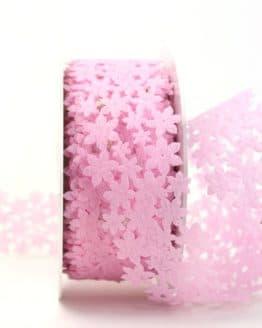Dekogirlande rosa, aus Vlies ausgestanzt - dekoband