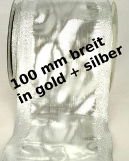Extrabreites Gold- und Silber-Band in 100 mm Breite, mit Drahtkante - weihnachtsband