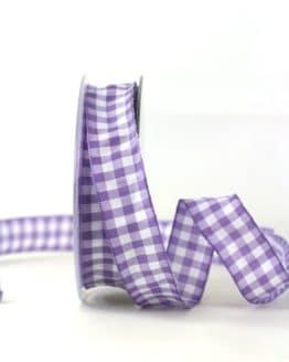 Kariertes Geschenkband, flieder-weiß, 25 mm breit - karoband, karierte-baender, geschenkband-kariert