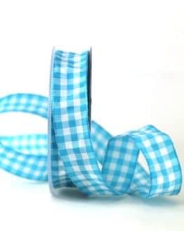 Kariertes Geschenkband, türkis-weiß, 25 mm breit - karoband, karierte-baender, geschenkband-kariert