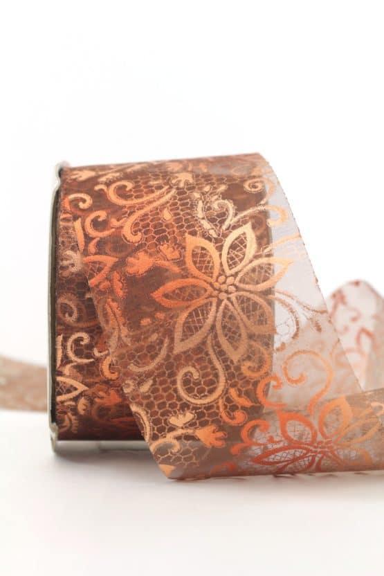 Breites Organzaband mit Blütenornament, kupfer, 60 mm - weihnachtsband, organzaband-weihnachten, geschenkband-weihnachten
