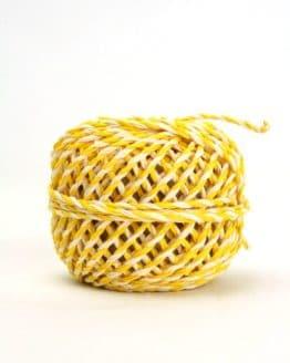Zweifarbige Kordel gelb-weiß, 2 mm - zierkordeln