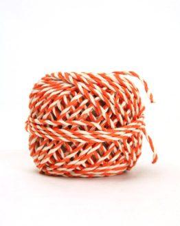 Zweifarbige Kordel orange-weiß, 2 mm - zierkordeln